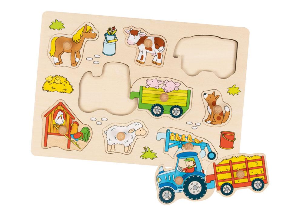 emotionworld goki holzspielzeug steckpuzzle traktor